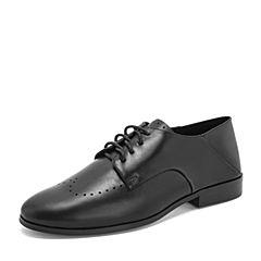 Tata/他她2019春专柜同款黑色牛皮革通勤绑带方跟女单鞋DQF01AM9