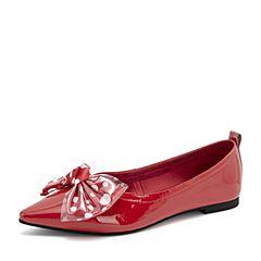 Tata/他她2019春专柜同款红色漆牛皮革透明胶片蝴蝶结尖头浅口女单鞋DGF01AQ9