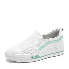 Tata/他她2019春专柜同款白/浅绿牛皮革糖果色小白鞋套脚休闲女单鞋DIF01AM9