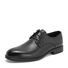 Tata/他她2019春专柜同款黑色牛皮革绑带商务德比鞋男单鞋BOM02AM9