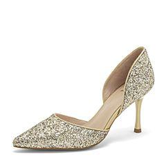 Tata/他她2019春专柜同款金色PU尖头细高跟中空女凉鞋AFF05AK9