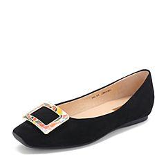 Tata/他她2019春黑色羊皮革绒面方头浅口平底鞋女单鞋FBL01AQ9