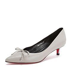 Tata/他她2019春专柜同款灰色牛皮革尖头猫跟鞋浅口女单鞋DZF01AQ9
