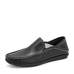 Tata/他她2019春黑色牛皮革套?#29260;?#24213;鞋休闲男单鞋DSK25AM9
