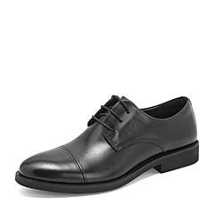 Tata/他她2019春黑色牛皮革德比鞋绑带商务鞋男单鞋DSK01AM9