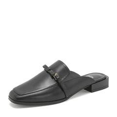 Tata/他她2019春黑色羊皮革通勤方头穆勒鞋半拖后空女凉鞋DS918AH9
