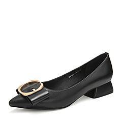 Tata/他她2019春黑色羊皮革?#37096;?#36890;勤尖头浅口女鞋DS186AQ9