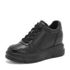 Tata/他她2019春黑色牛皮革绑带厚底休闲鞋女单鞋DS15AAM9