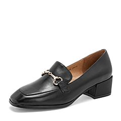 Tata/他她2019春黑色牛皮革通勤方头乐福鞋粗跟女单鞋DS632AM9