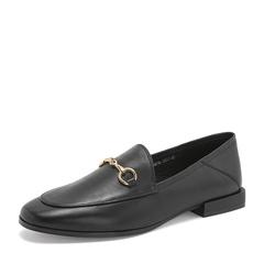 Tata/他她2019春黑色羊皮革通勤乐福鞋方跟女单鞋DS716AM9