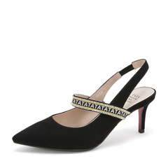 Tata/他她2019春黑色羊皮革绒面尖头水钻一字带猫跟后空女凉鞋DS619AH9