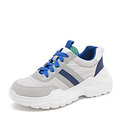 Tata/他她2019春专柜同款灰色拼接老爹鞋厚底休闲鞋女鞋EYF01AM9