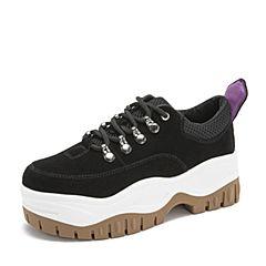 Tata/他她2019春专柜同款黑色牛剖层皮革老爹鞋松糕鞋休闲女鞋EXF01AM9