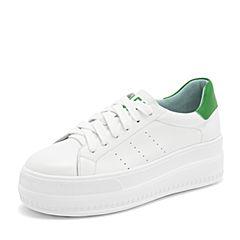 Tata/他她2019春专柜同款白/绿牛皮革小白鞋板鞋休闲松糕女鞋EUF01AM9