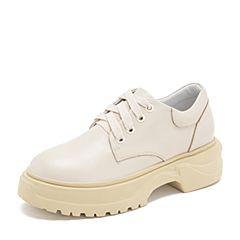 Tata/他她2019春专柜同款米白牛皮革老爹鞋厚底休闲女单鞋ETF01AM9