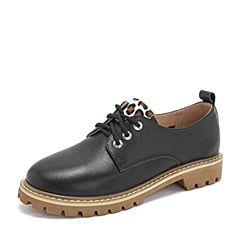 Tata/他她2019春专柜同款黑色牛皮革豹纹通勤绑带女单鞋FEF01AM9