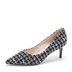 Tata/他她2019春专柜同款黑/彩复古编织布尖头高跟浅口女鞋FAF02AQ9