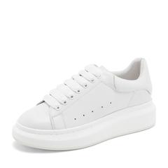 Tata/他她2019春白色牛皮革休闲小白鞋板鞋厚底女鞋DSMK8AM9