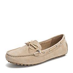 Tata/他她2019春专柜同款杏色羊皮革豆豆鞋乐福鞋休闲女鞋FIF02AM9