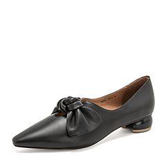 Tata/他她2019春专柜同款黑色羊皮革蝴蝶结奶奶鞋尖头女鞋FGF01AM9