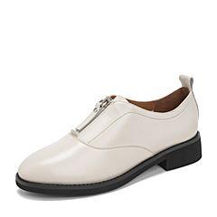 Tata/他她2019春专柜同款米白牛皮革通勤前拉链方跟女鞋FDF01AM9