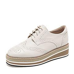 Tata/他她2019春专柜同款白色牛皮革英伦单鞋拼色坡跟休闲女鞋DS196AM9