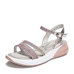 Tata/他她2019夏专柜同款粉红拼接一字带休闲坡跟女凉鞋GFF02BL9
