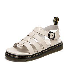 Tata/他她2019夏专柜同款米白牛皮革条带罗马鞋平底女凉鞋GAF01BL9