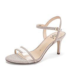 Tata/他她2019夏专柜同款粉银亮片PU胶片一字带高跟女凉鞋2DZG9BL9