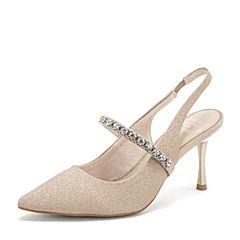 Tata/他她2019夏专柜同款金色PU水钻尖头细高跟女凉鞋AFF07BH9