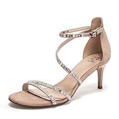 Tata/他她2019夏专柜同款浅粉羊皮革条带细高跟女凉鞋FVF01BL9
