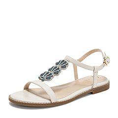 Tata/他她2019夏专柜同款米色羊皮革水钻鸳鸯鞋一字带女凉鞋FKGA7BL9