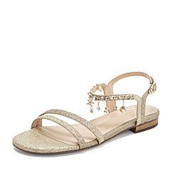 Tata/他她2019夏专柜同款金色亮片布水钻一字带女凉鞋2QVB2BL9