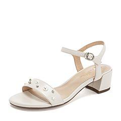 Tata/他她2019夏专柜同款米色羊皮革珍珠水钻一字带女凉鞋2USK1BL9