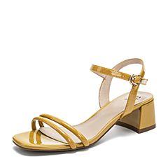 Tata/他她2019夏專柜同款黃色漆牛皮革一字帶粗跟女涼鞋GRF01BL9