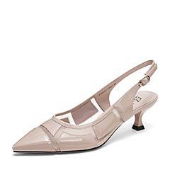 Tata/他她2019夏专柜同款粉色拼接漆皮网纱尖头猫跟鞋后空女凉鞋FWF01BH9