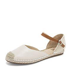 Tata/他她2019夏专柜同款米白拼接渔夫鞋一字带平底中空女凉鞋FZF02BK9