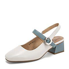 Tata/他她2019夏专柜同款白/蓝羊皮革一字带方头女凉鞋DXF02BH9