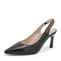 Tata/他她2019夏专柜同款黑色羊皮革尖头细高跟后空女凉鞋HOF01BH9