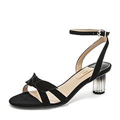 Tata/他她2019夏专柜同款黑色羊皮革蝴蝶结一字带水晶高跟女凉鞋2V001BL9