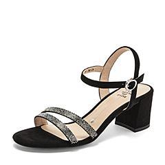 Tata/他她2019夏专柜同款黑色拼接一字带高跟女凉鞋2ICB6BL9
