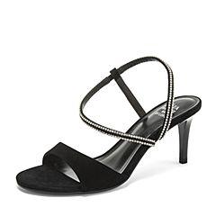 Tata/他她2019夏专柜同款黑色羊皮革水钻一字带细高跟女凉鞋HSF01BL9