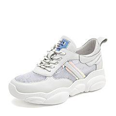 Tata/他她2019夏专柜同款白色拼接网面鞋老爹鞋运动休闲女鞋HTF01BM9