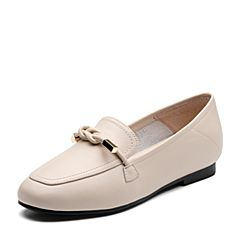 Tata/他她2019秋專柜同款米白牛皮革蝴蝶結飾樂福鞋平底休閑女單鞋JDF02CM9