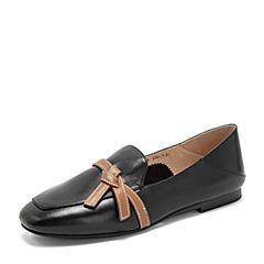 Tata/他她2019秋專柜同款黑/棕牛皮革蝴蝶結飾樂福鞋通勤平底鞋女單鞋FLC25CM9