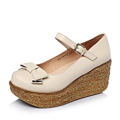 Teenmix/天美意春季专柜同款米色牛皮女单鞋6XV10AQ5