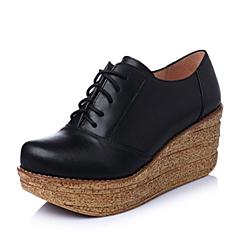 Teenmix/天美意春季专柜同款黑色牛皮革女单鞋6XV23AM5
