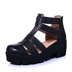 Teenmix/天美意春季专柜同款黑色牛皮女凉鞋6WA30AB5