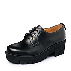 Teenmix/天美意春季专柜同款黑色擦色牛皮女单鞋6WA20AM5