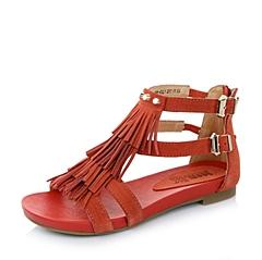 Teenmix/天美意2015年夏季红色牛皮流苏女凉鞋238-4BL5